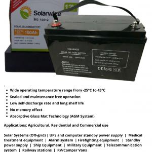 BS030 Solarwize – Battery  Deep Cycle Gel 100% Capacity. 12 Volt 100ah