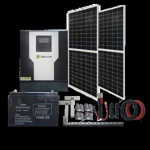 SE010 – Solar Start-Up Kit.Inverter 3Kva Batt Gel 100ah x 2 .S.Panels 350W x 2  Accessories incl.